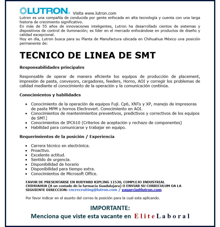 VACANTE TECNICO DE LINEA DE SMT LUTRON