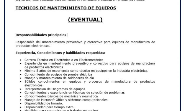 VACANTE TECNICOS DE MANTENIMIENTO DE EQUIPOS LUTRON