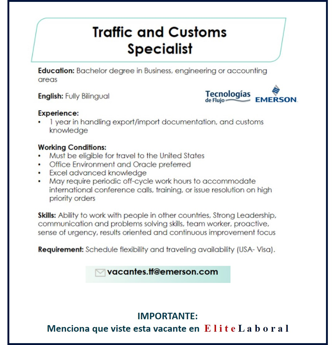 VACANTE TRAFFIC AND CUSTOMS SPECIALIST