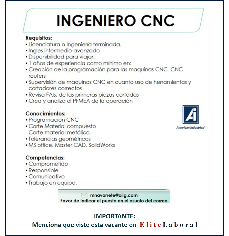 VACANTE INGENIERO CNC