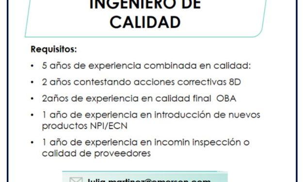 VACANTE INGENIERO DE CALIDAD