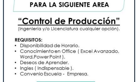VACANTE PRACTICANTE CONTROL DE PRODUCCION