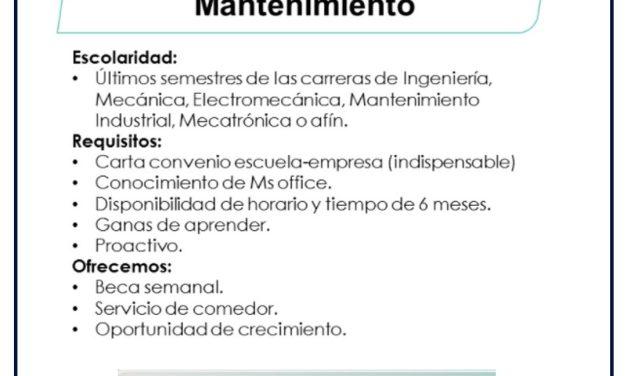 VACANTE PRACTICANTE DE MANTENIMIENTO