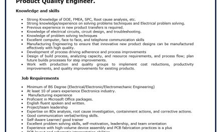 VACANTE PRODUCT QUALITY ENGINEER LUTRON