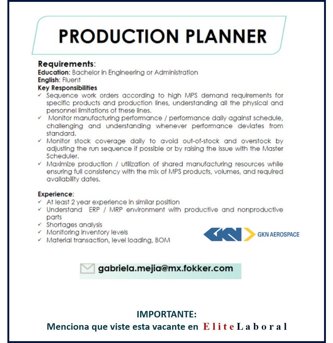 VACANTE PRODUCTION PLANNER