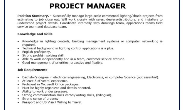 VACANTE PROJECT MANAGER LUTRON