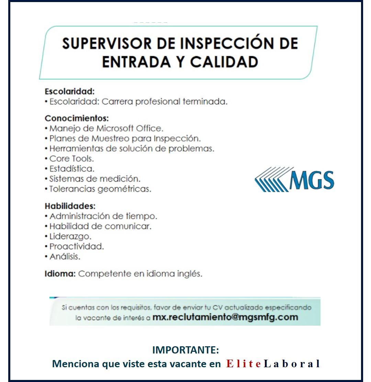 VACANTE SUPERVISOR DE INSPECCION DE ENTRADA Y CALIDAD